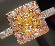 Yellow Diamond Ring: .56ct Fancy Intense Yellow SI1 Princess Cut GIA Pink Diamond Halo R5379