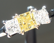 SOLD.......Yellow Diamond Ring: .43ct Fancy Intense Yellow VS2 Princess Cut GIA Three Stone R5380