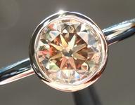 SOLD...Brown Diamond Ring: 1.15ct Fancy Yellow Brown VS2 Round Brilliant Bezel Set R5391