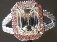 SOLD.... Colorless Diamond Ring: 2.02ct K SI2 Emerald Cut GIA Pink Diamond Halo R5255