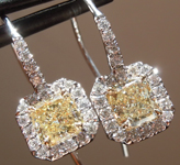 SOLD....Yellow Diamond Earrings: 1.12cts Fancy Light Yellow Radiant Cut Diamond Halo Earrings R5111