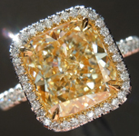 SOLD.....Yellow Diamond Ring: 3.02ct W-X VVS1 Cushion Cut GIA Uber Halo R5401