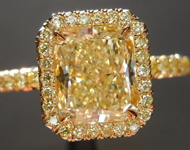 SOLD...Yellow Diamond Ring: 1.51ct Fancy Light Yellow VS2 Radiant Cut GIA Yellow Diamond Halo R5408
