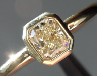 SOLD...Yellow Diamond Ring: .37ct Fancy Light Yellow I1 Radiant Cut Bezel Set Ring Eye Clean R5372