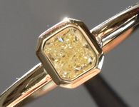 SOLD...Yellow Diamond Ring: .23ct Fancy Light Yellow SI1 Radiant Cut Bezel Set Ring R5373