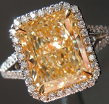 SOLD...Yellow Diamond Ring: 3.27ct U-V Internally Flawless Radiant Cut GIA Halo Ring R5410