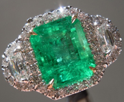 SOLD...Emerald and Diamond Ring: 2.07ct Emerald Three Stone Diamond Halo Ring R5403