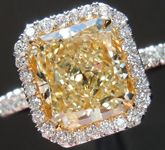 SOLD...Yellow Diamond Ring: 2.12ct Y-Z SI1 Radiant Cut GIA Uber Halo Ring R5425