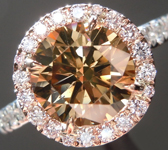 SOLD...Brown Diamond Ring: 1.74ct Fancy Yellow Brown SI2 Round Brilliant Pink Diamond Halo R5429