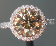 Brown Diamond Ring: 1.91ct Fancy Yellow Brown VS2 Round Brilliant Halo Ring R5430