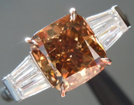 Brown Diamond Ring: 2.03ct Fancy Bronwish Yellow SI2 Cushion Cut Double Baguette Ring R5431
