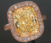 Yellow Diamond Ring: 4.53ct Y-Z SI2 Cushion Cut GIA Tri-Color Halo Ring  R5437