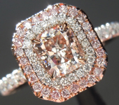 Pink Diamond Ring: .68ct Light Pinkish Brown SI2 Radiant Cut GIA Double Halo R5442