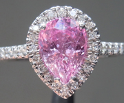 SOLD...Pink Sapphire Ring: 1.46ct Pink Pear Shape Sapphire Diamond Halo R5416