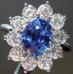 SOLD...Sapphire Ring: 1.74ct Blue Oval Shape Sapphire and Diamond Ring R5382