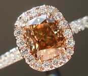 Brown Diamond Ring: 1.09ct Fancy Yellowish Brown Cushion Cut Hand Forged Halo R5432