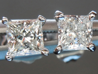 SOLD...Colorless Diamond Earrings: .62cts F-G VS1 Princess Cut Diamond Stud Earrings R4989