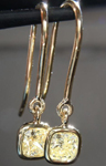 SOLD...Yellow Diamond Earrings: .83cts Fancy Light Yellow VS2 Cushion Cut Dangle Earrings R5451