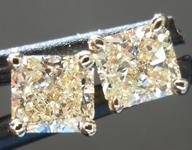 SOLD...Yellow Diamond Earrings: .80ct W-X, Natural Light Yellow Cushion Cut Diamond Studs R5457