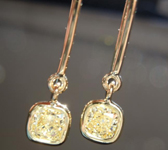 SOLD.... Yellow Diamond Earrings: .80cts Y-Z SI2 Cushion Cut Diamond Dangle Earrings R5458