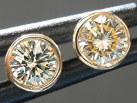 SOLD...Yellow Diamond Earrings: .34cts W-X VS1 Round Brilliant Bezel Set Studs R4568