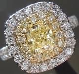 SOLD...Yellow Diamond Ring: .46ct Fancy Yellow VS1 Cushion Cut Diamond Double Halo Ring R5452