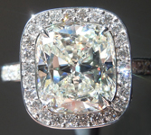 Colorless Diamond Ring: 3.09ct J VVS2 Cushion Cut GIA Hand Forged Halo R5435