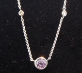 SOLD.....Sapphire Necklace: .76ct Purple Round Brilliant Sapphire Diamonds by the Yard Necklace R4556