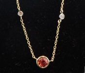 SOLD....Sapphire Necklace: 1.39ct Orange Round Brilliant Sapphire Diamonds by the Yard Necklace R4558
