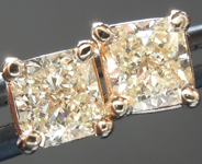 SOLD.....Yellow Diamond Earrings: .64cts Y-Z SI1 Radiant Cut Diamond Stud Earrings R5456