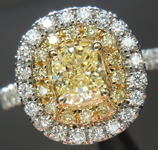 Yellow Diamond Ring: .45ct Fancy Yellow SI1 Cushion Modified Brilliant GIA Double Halo Ring R5464