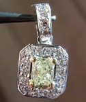 Yellow Diamond Pendant: .31ct W-X SI1 Radiant Cut Diamond Halo Pendant GIA R5477