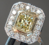 SOLD........Yellow Diamond Tie Tack: .41ct Y-Z SI2 Radiant Cut GIA Bezel Set R5472