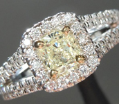 SOLD.....Yellow Diamond Ring: .41ct U-V SI2 Cushion Cut GIA Split Shank Halo R5476