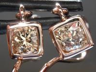 SOLD...Brown Diamond Earrings: .98ctw Fancy Yellow Brown SI1 Cushion Cut Dangle Earrings R5512