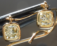 SOLD....Yellow Diamond Earrings: 1.40ctw Fancy Light Yellow VS1 Radiant Cut Dangle Earrings R5511