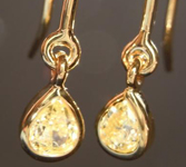 SOLD...Yellow Diamond Earrings: .26ctw Fancy Yellow VS1 Pear Shape Dangle Earrings R5488