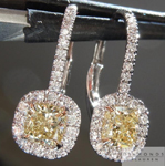 SOLD...Yellow Diamond Earrings: .93cts Fancy Light Yellow VS1 Cushion Cut Halo Earrings R5450