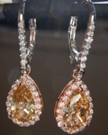 SOLD.....Brown Diamond Earrings: 2.18cts Fancy Yellow Brown Pear Shape Pink Halo Dangles R5508