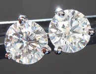 SOLD.....Colorless Diamond Earrings: 1.62cts G SI2 Round Brilliant Martini Stud Earrings R5564