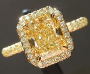 SOLD....Yellow Diamond Ring: 1.70ct Y-Z VS2 Radiant Cut GIA Yellow Diamond Halo R5561