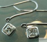 SOLD.... Colorless Diamond Earrings: .41ctw H VS Princess Cut Dangle Earrings R5525