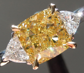 SOLD...Yellow Diamond Ring: 2.08ct Fancy Yellow VS1 Modified Princess Cut GIA Three Stone R5565