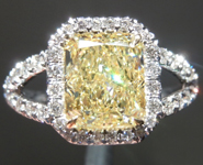 SOLD.....Yellow Diamond Ring: 2.14ct Fancy Light Yellow SI1 Radiant Cut GIA Split Shank Halo R5540