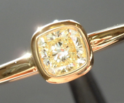 SOLD...Yellow Diamond Ring: .34ct W-X VS1 Cushion Cut Bezel Set Ring Ring R5473