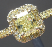 SOLD.....Yellow Diamond Ring: 1.02ct Fancy Yellow SI2 Radiant Cut GIA Yellow  Diamond Halo R5550