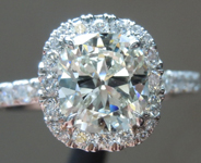 Colorless Diamond Ring: 1.12ct J VS1 Cushion Cut GIA Hand Forged Halo R5577