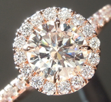 Pink Diamond Ring: .73ct Light Pinkish Brown SI2 Round Brilliant Diamond Halo Ring GIA R5587