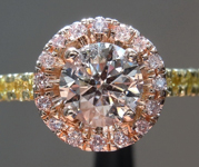 Pink Diamond Ring: .70ct Fancy Brown Pink I1 Round Brilliant GIA Pink Diamond Halo R5588