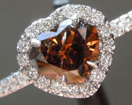 Brown Diamond Ring: 1.02ct Fancy Dark Orangy Brown Heart Shape GIA Hand Forged Halo R5589